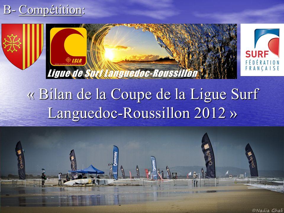 Composée de 2 étapes et 1 championnat Mondial du vent à Leucate (11) (du 7 au 15 Avril 2012 ) (du 7 au 15 Avril 2012 )FestiGliss à Canet en Roussillon (66) (du 17 au 20 Mai 2012) Championnat SUP RACE: Surf in Lattes (Port Ariane) Surf in Lattes (Port Ariane) (30 Juin 2012)