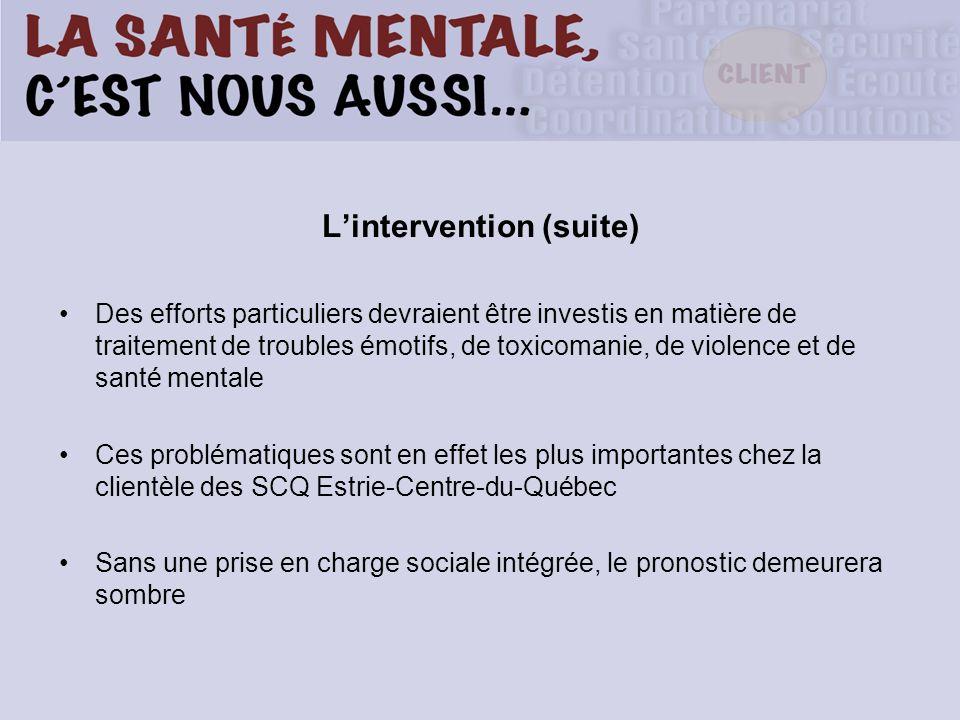 Lintervention (suite) Des efforts particuliers devraient être investis en matière de traitement de troubles émotifs, de toxicomanie, de violence et de