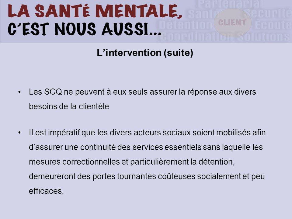 Lintervention (suite) Les SCQ ne peuvent à eux seuls assurer la réponse aux divers besoins de la clientèle Il est impératif que les divers acteurs soc