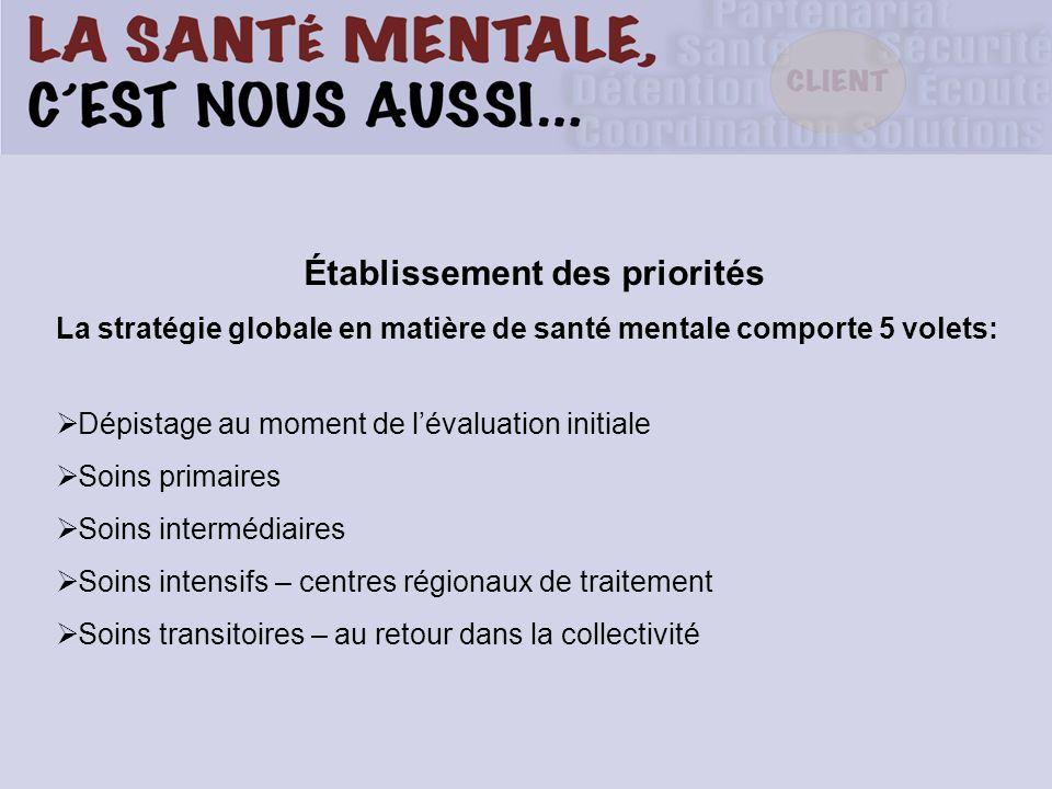 Établissement des priorités La stratégie globale en matière de santé mentale comporte 5 volets: Dépistage au moment de lévaluation initiale Soins prim