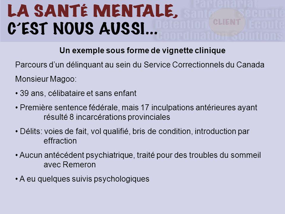 Un exemple sous forme de vignette clinique Parcours dun délinquant au sein du Service Correctionnels du Canada Monsieur Magoo: 39 ans, célibataire et