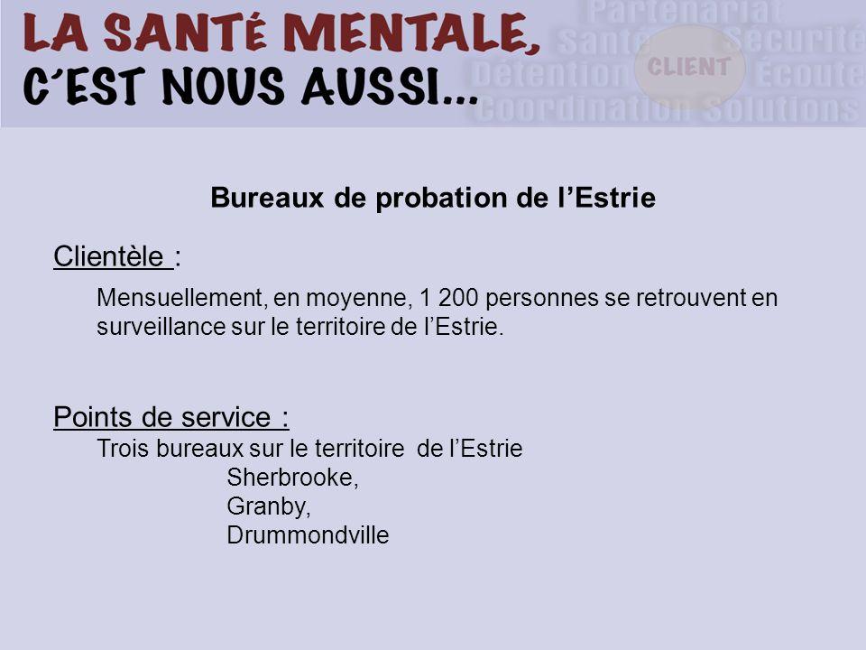 Bureaux de probation de lEstrie Clientèle : Mensuellement, en moyenne, 1 200 personnes se retrouvent en surveillance sur le territoire de lEstrie. Poi