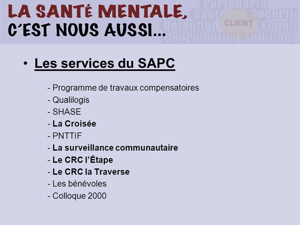 Les services du SAPC - Programme de travaux compensatoires - Qualilogis - SHASE - La Croisée - PNTTIF - La surveillance communautaire - Le CRC lÉtape