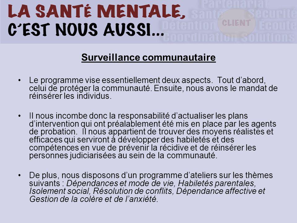 Surveillance communautaire Le programme vise essentiellement deux aspects. Tout dabord, celui de protéger la communauté. Ensuite, nous avons le mandat