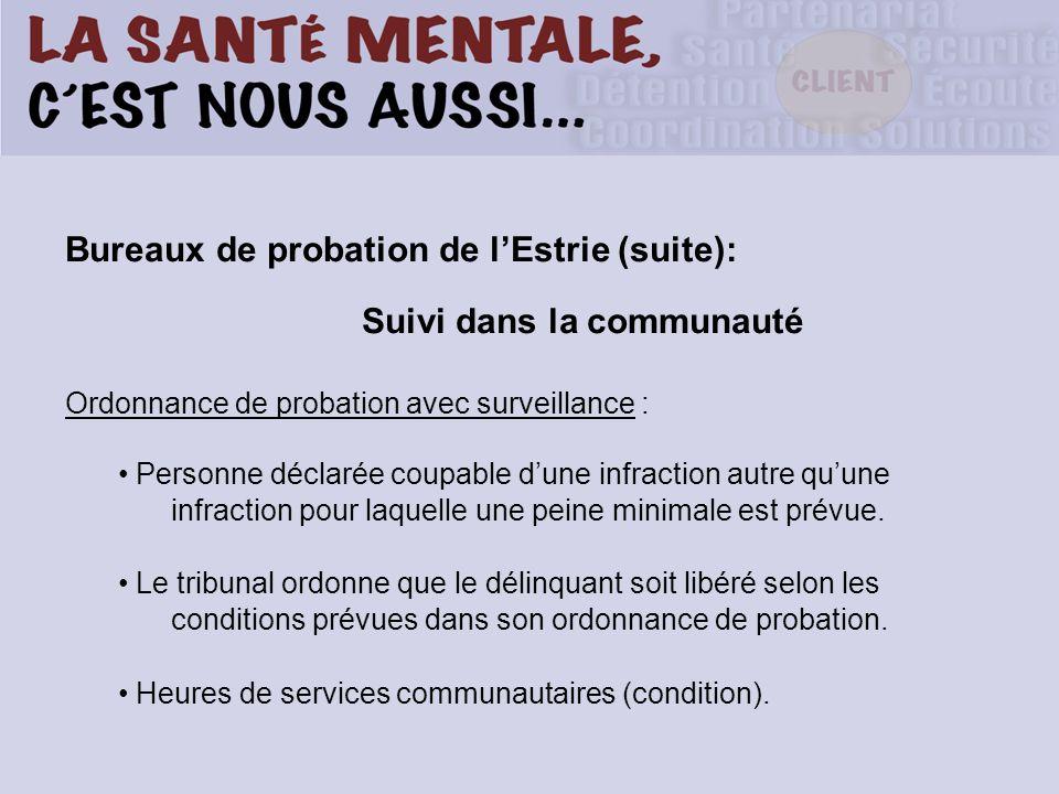 Bureaux de probation de lEstrie (suite): Suivi dans la communauté Ordonnance de probation avec surveillance : Personne déclarée coupable dune infracti