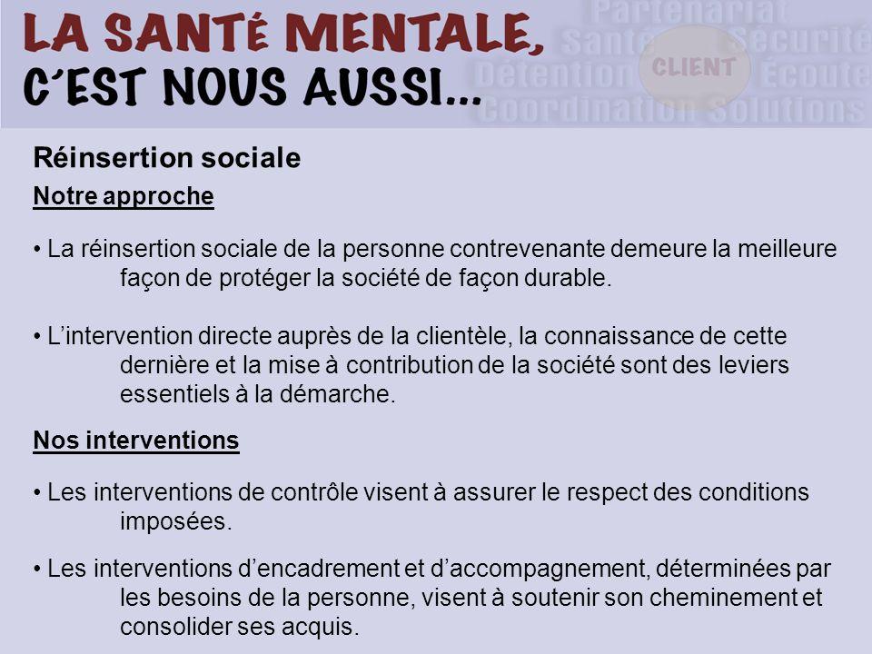 Réinsertion sociale Notre approche La réinsertion sociale de la personne contrevenante demeure la meilleure façon de protéger la société de façon dura