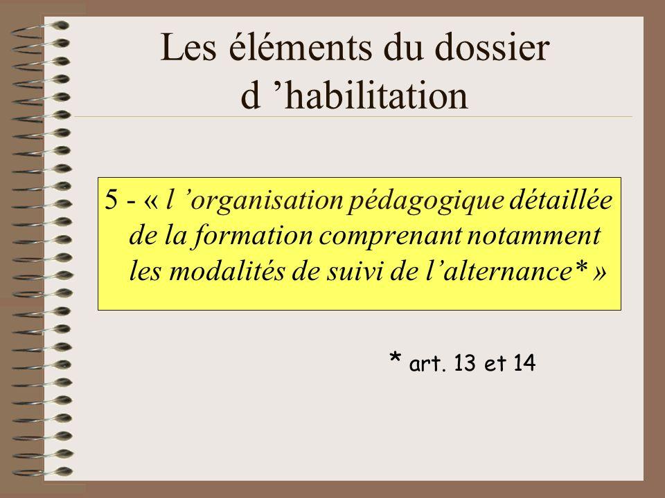 Les éléments du dossier d habilitation 5 - « l organisation pédagogique détaillée de la formation comprenant notamment les modalités de suivi de lalte
