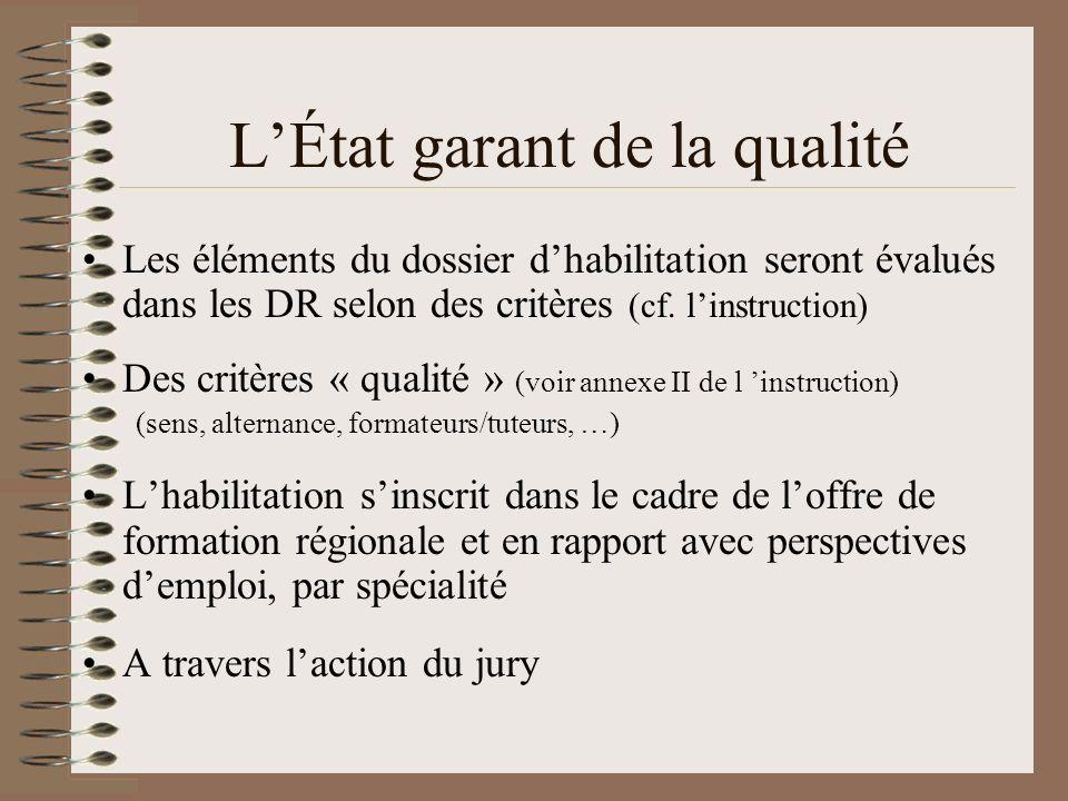 LÉtat garant de la qualité Les éléments du dossier dhabilitation seront évalués dans les DR selon des critères (cf. linstruction) Des critères « quali