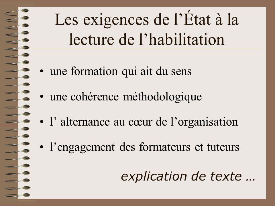 Les exigences de lÉtat à la lecture de lhabilitation une formation qui ait du sens une cohérence méthodologique l alternance au cœur de lorganisation