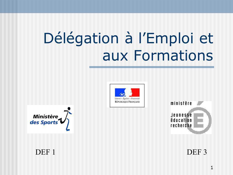 1 Délégation à lEmploi et aux Formations DEF 1 DEF 3