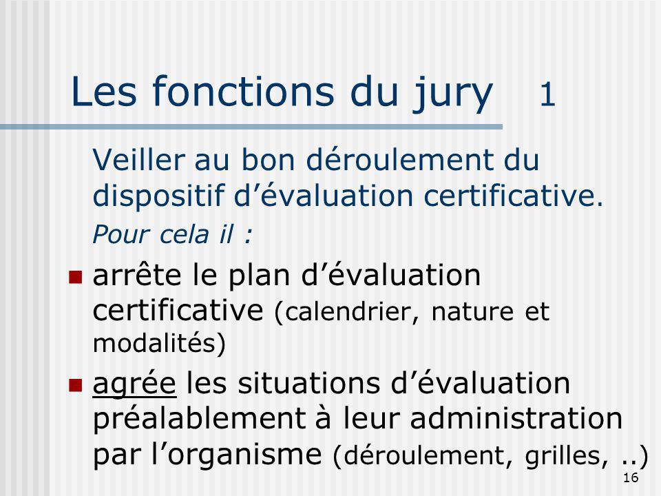 16 Les fonctions du jury 1 Veiller au bon déroulement du dispositif dévaluation certificative. Pour cela il : arrête le plan dévaluation certificative