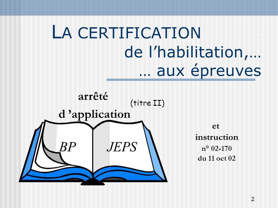 2 L A CERTIFICATION. de lhabilitation,… … aux épreuves arrêté d application BP JEPS (titre II) et instruction n° 02-170 du 11 oct 02