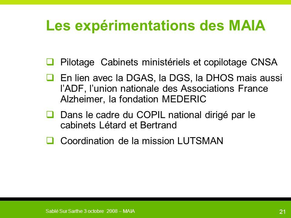 Sablé Sur Sarthe 3 octobre 2008 – MAIA 22 Les expérimentations MAIA Accompagnement des expérimentations ( 15 maximum) par une équipe projet nationale chargée de laccompagnement méthodologique et de l évaluation.