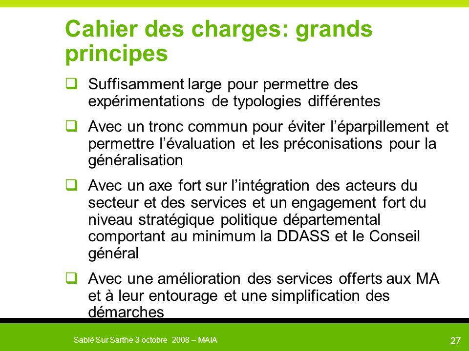 Sablé Sur Sarthe 3 octobre 2008 – MAIA 28 Cahier des charges MAIA Porteur du projet Description du projet: a minima Territoire ciblé à préciser Population ciblée: MA, PA, PH.
