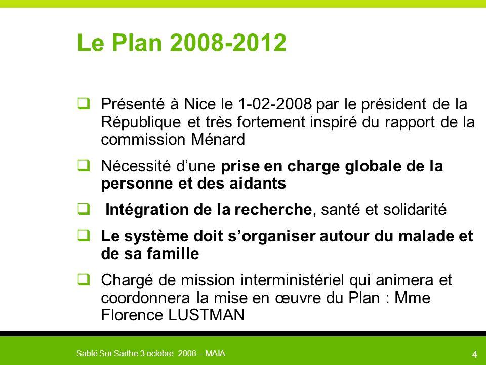 Sablé Sur Sarthe 3 octobre 2008 – MAIA 5 Le plan 2008-2012 3 axes, 11 objectifs, 44 mesures qui doivent sarticuler entre elles Axe 1 : Améliorer la qualité de vie des malades et des aidants Axe 2 : Connaître pour agir Axe 3 : Se mobiliser pour un enjeu de société