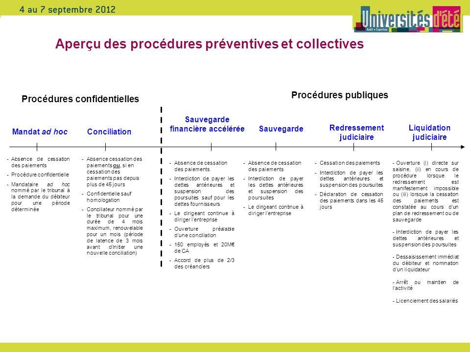Aperçu des procédures préventives et collectives Mandat ad hoc -Absence de cessation des paiements -Procédure confidentielle -Mandataire ad hoc nommé