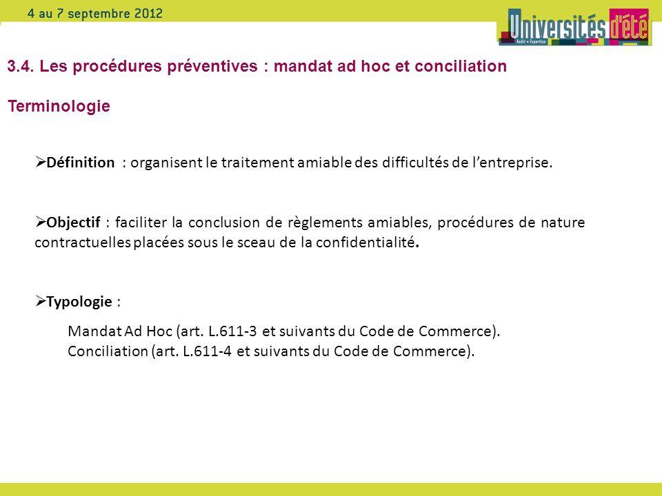 3.4. Les procédures préventives : mandat ad hoc et conciliation Terminologie Définition : organisent le traitement amiable des difficultés de lentrepr