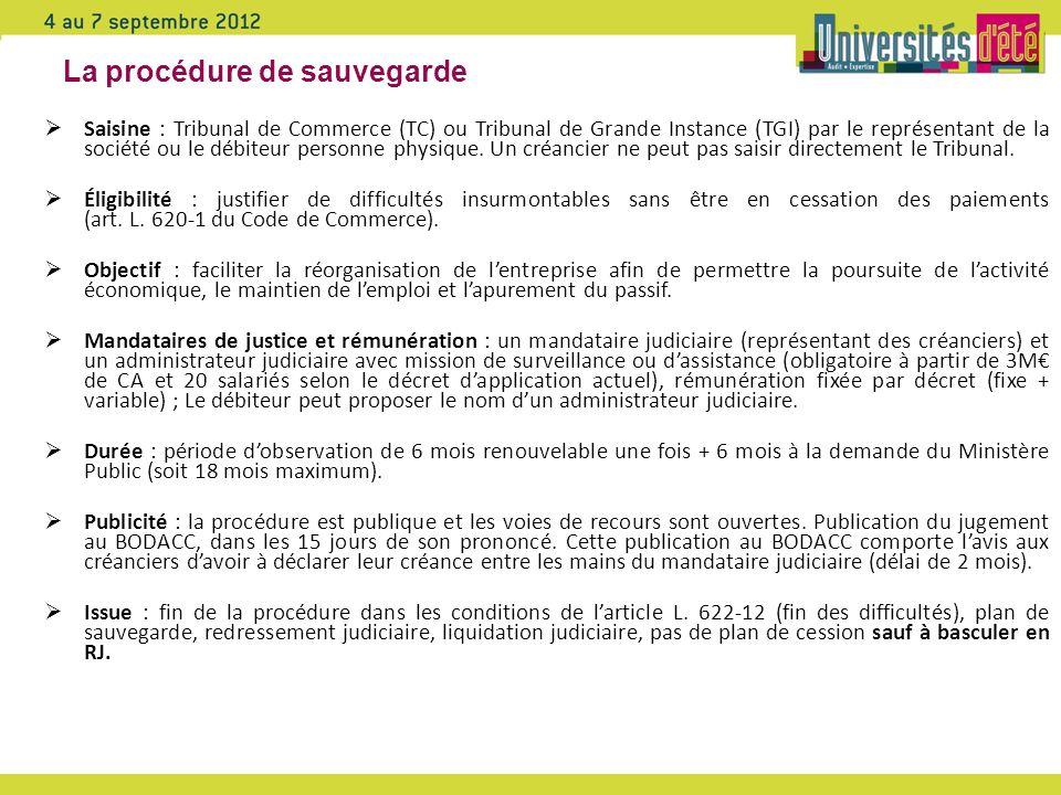 La procédure de sauvegarde Saisine : Tribunal de Commerce (TC) ou Tribunal de Grande Instance (TGI) par le représentant de la société ou le débiteur p