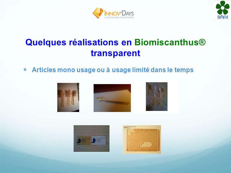 Quelques réalisations en Biomiscanthus® transparent Articles mono usage ou à usage limité dans le temps