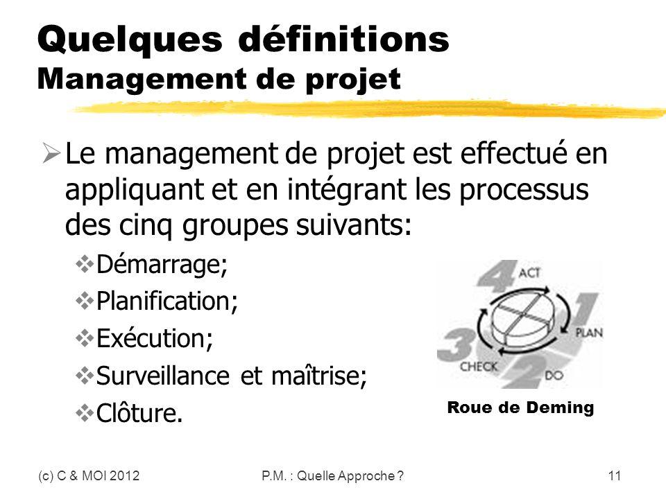Quelques définitions Management de projet Le management de projet est effectué en appliquant et en intégrant les processus des cinq groupes suivants:
