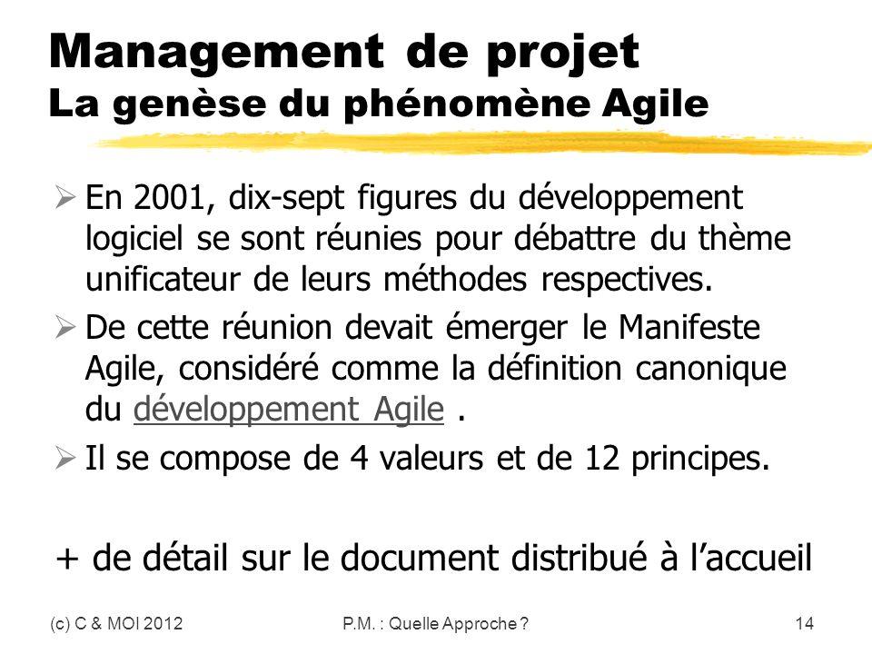Management de projet La genèse du phénomène Agile En 2001, dix-sept figures du développement logiciel se sont réunies pour débattre du thème unificate