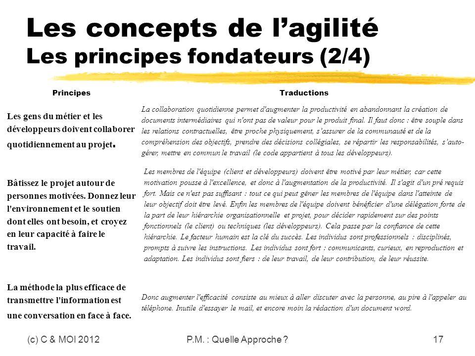 Les concepts de lagilité Les principes fondateurs (2/4) (c) C & MOI 2012P.M. : Quelle Approche ?17 PrincipesTraductions Les gens du métier et les déve