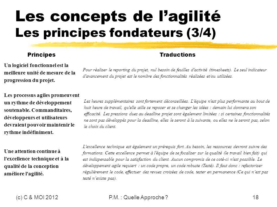 Les concepts de lagilité Les principes fondateurs (3/4) (c) C & MOI 2012P.M. : Quelle Approche ?18 Principes Traductions Un logiciel fonctionnel est l