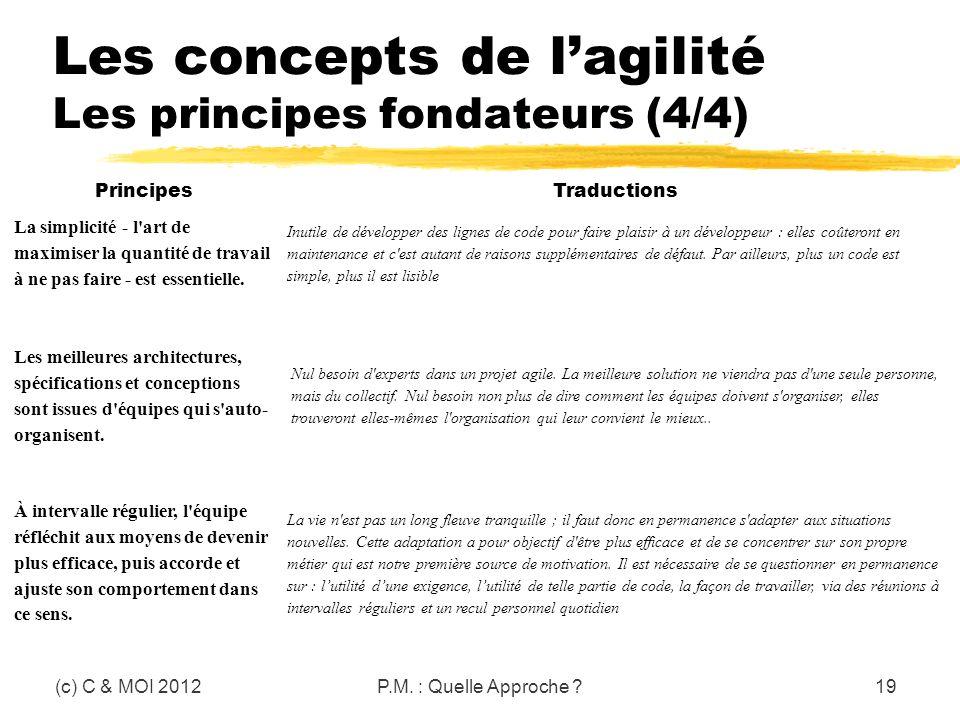 Les concepts de lagilité Les principes fondateurs (4/4) (c) C & MOI 2012P.M. : Quelle Approche ?19 Principes Traductions La simplicité - l'art de maxi