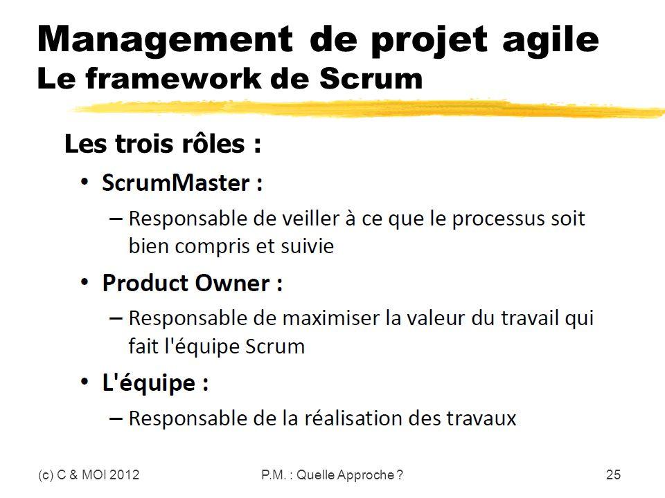 Management de projet agile Le framework de Scrum (c) C & MOI 2012P.M. : Quelle Approche ?25 Les trois rôles :