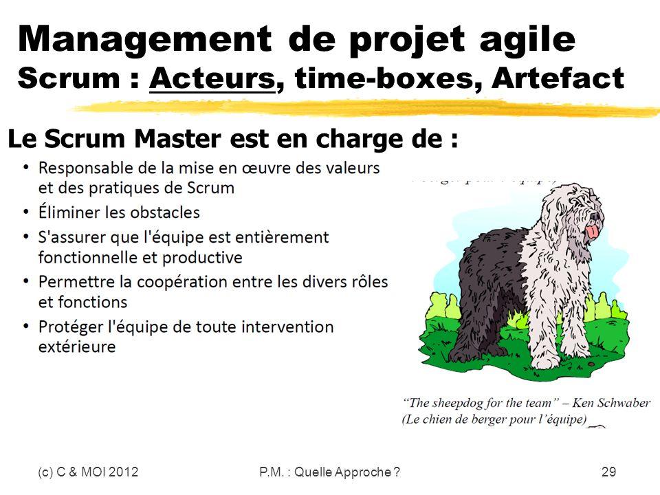 (c) C & MOI 2012P.M. : Quelle Approche ?29 Le Scrum Master est en charge de : Management de projet agile Scrum : Acteurs, time-boxes, Artefact