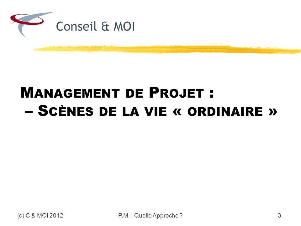 M ANAGEMENT DE P ROJET : – S CÈNES DE LA VIE « ORDINAIRE » (c) C & MOI 2012P.M. : Quelle Approche ?3