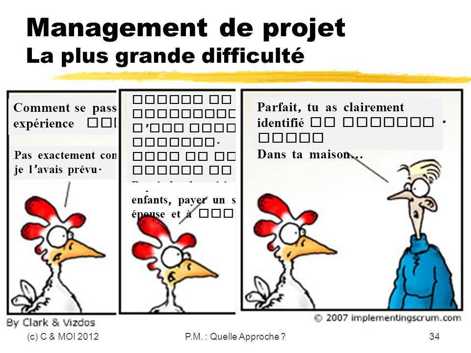 Management de projet La plus grande difficulté (c) C & MOI 2012P.M. : Quelle Approche ?34 Comment se passe ton expérience Scrum à la maison ? Pas exac
