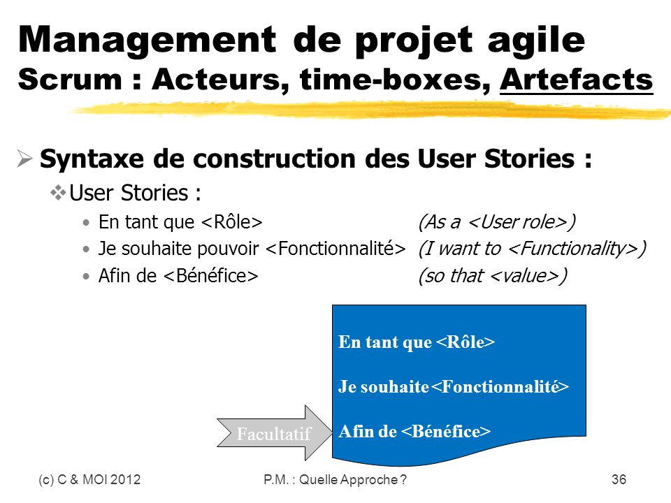 (c) C & MOI 2012P.M. : Quelle Approche ?36 Management de projet agile Scrum : Acteurs, time-boxes, Artefacts Syntaxe de construction des User Stories