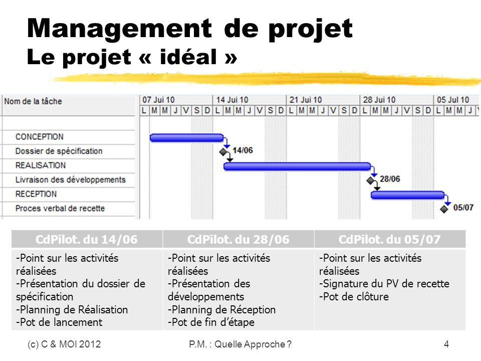 Management de projet Le projet « idéal » (c) C & MOI 2012P.M. : Quelle Approche ?4 CdPilot. du 14/06CdPilot. du 28/06CdPilot. du 05/07 -Point sur les