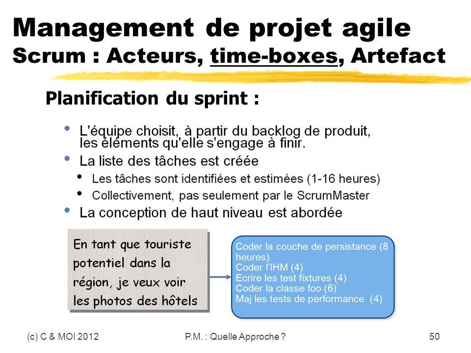 (c) C & MOI 2012P.M. : Quelle Approche ?50 Management de projet agile Scrum : Acteurs, time-boxes, Artefact Planification du sprint :