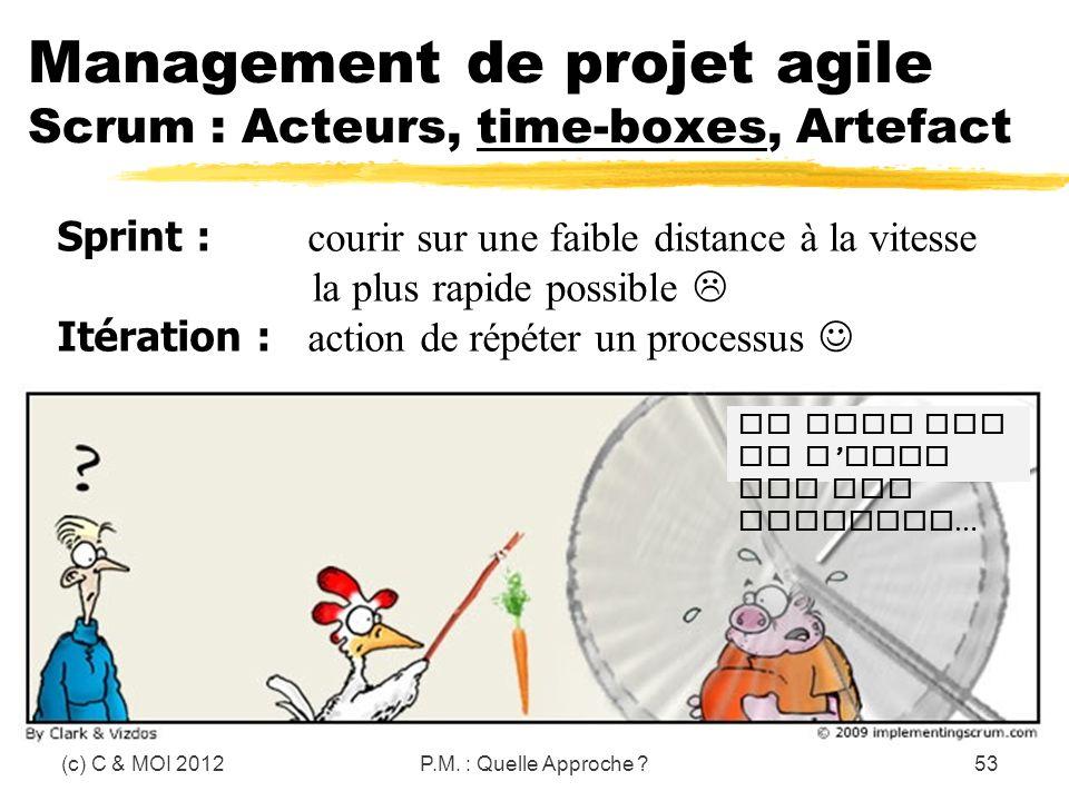 (c) C & MOI 2012P.M. : Quelle Approche ?53 Management de projet agile Scrum : Acteurs, time-boxes, Artefact Et dire que je n aime pas les carottes … S
