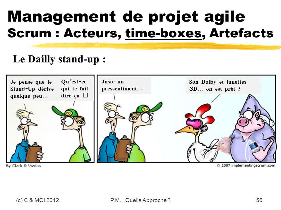 (c) C & MOI 2012P.M. : Quelle Approche ?56 Management de projet agile Scrum : Acteurs, time-boxes, Artefacts Le Dailly stand-up : Je pense que le Stan