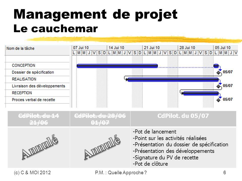 Management de projet Le cauchemar (c) C & MOI 2012P.M. : Quelle Approche ?6 CdPilot. du 14 21/06 CdPilot. du 28/06 01/07 CdPilot. du 05/07 -Pot de lan