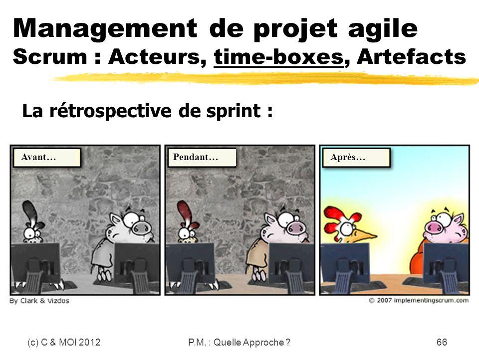 (c) C & MOI 2012P.M. : Quelle Approche ?66 Management de projet agile Scrum : Acteurs, time-boxes, Artefacts La rétrospective de sprint : Avant…Pendan