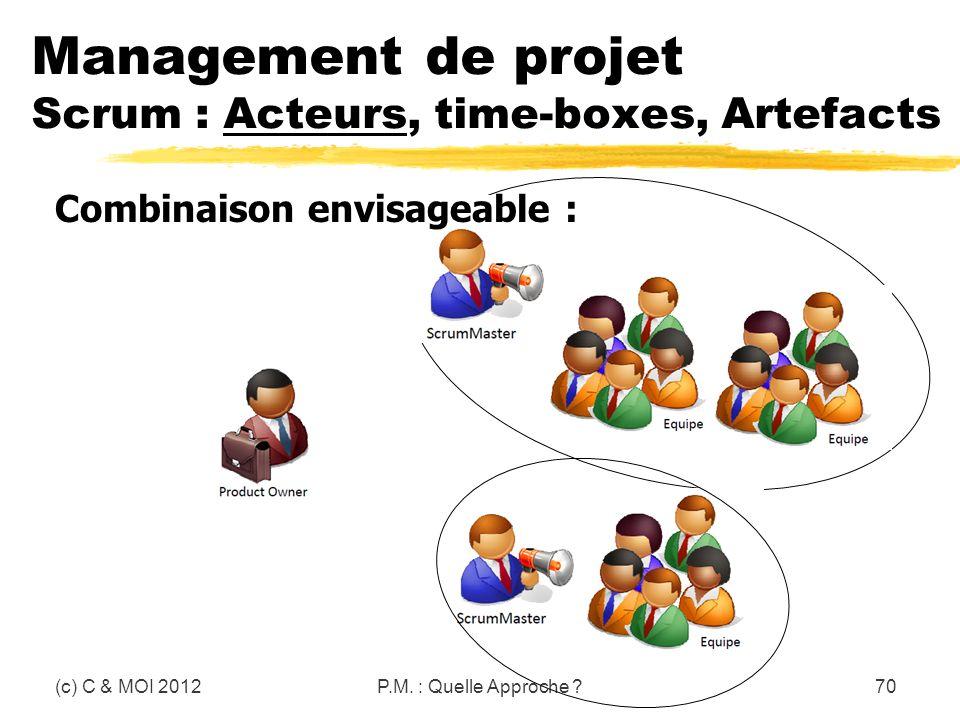 Management de projet Scrum : Acteurs, time-boxes, Artefacts (c) C & MOI 2012P.M. : Quelle Approche ?70 Combinaison envisageable :
