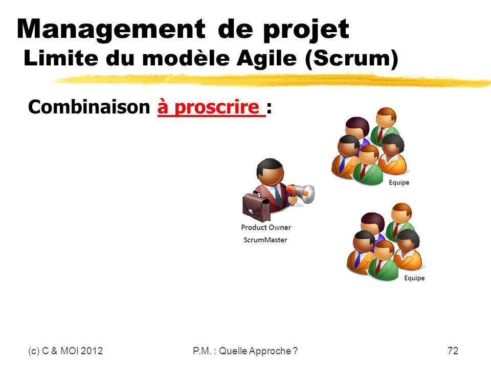 Management de projet Limite du modèle Agile (Scrum) (c) C & MOI 2012P.M. : Quelle Approche ?72 Combinaison à proscrire :