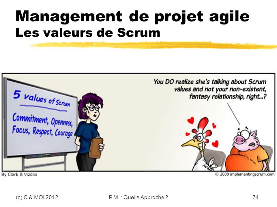Management de projet agile Les valeurs de Scrum (c) C & MOI 2012P.M. : Quelle Approche ?74