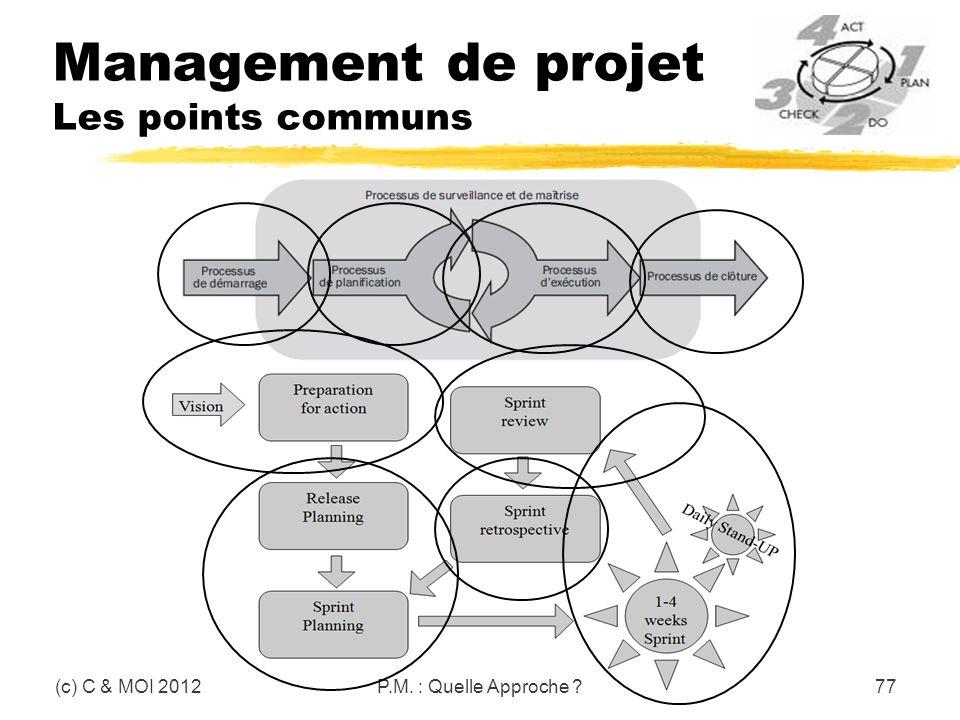 Management de projet Les points communs (c) C & MOI 2012P.M. : Quelle Approche ?77
