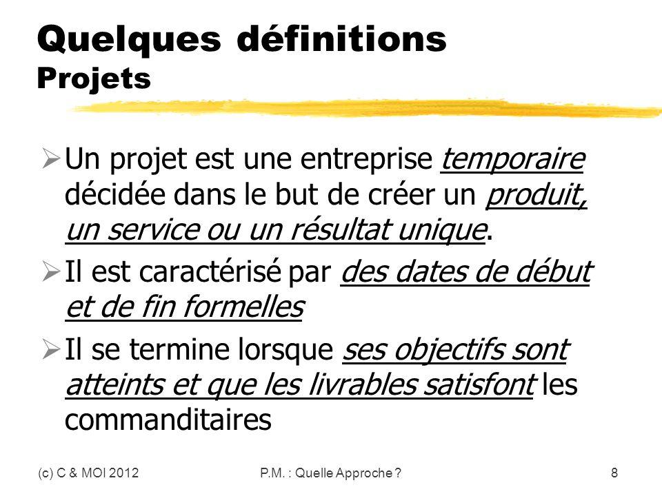 Quelques définitions Projets Un projet est une entreprise temporaire décidée dans le but de créer un produit, un service ou un résultat unique. Il est