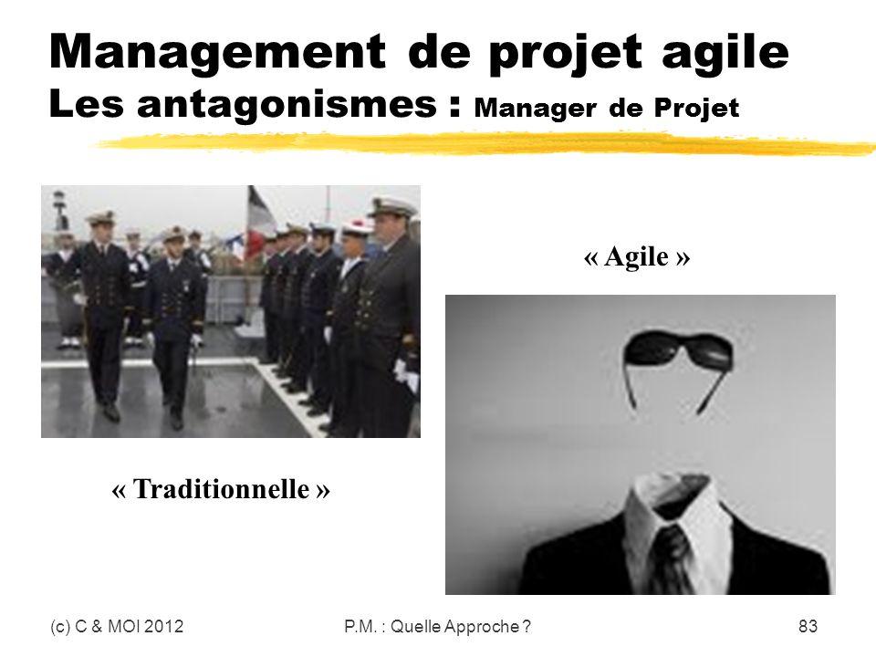Management de projet agile Les antagonismes : Manager de Projet (c) C & MOI 2012P.M. : Quelle Approche ?83 « Traditionnelle » « Agile »