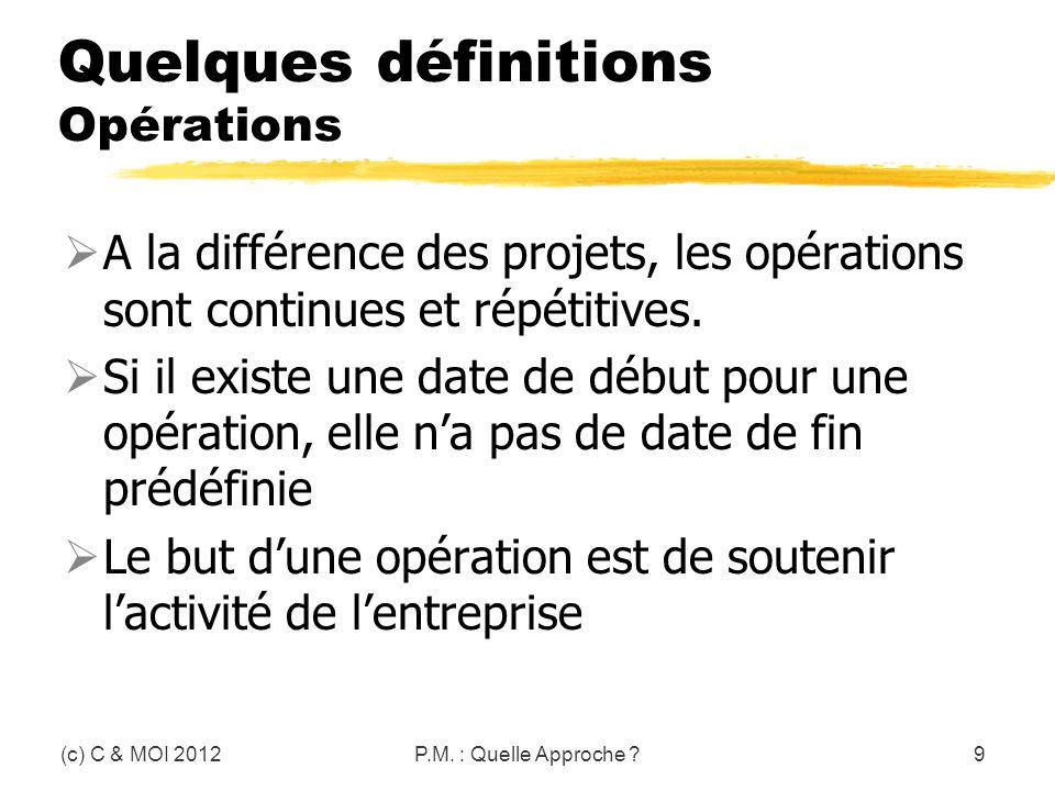 Quelques définitions Opérations A la différence des projets, les opérations sont continues et répétitives. Si il existe une date de début pour une opé