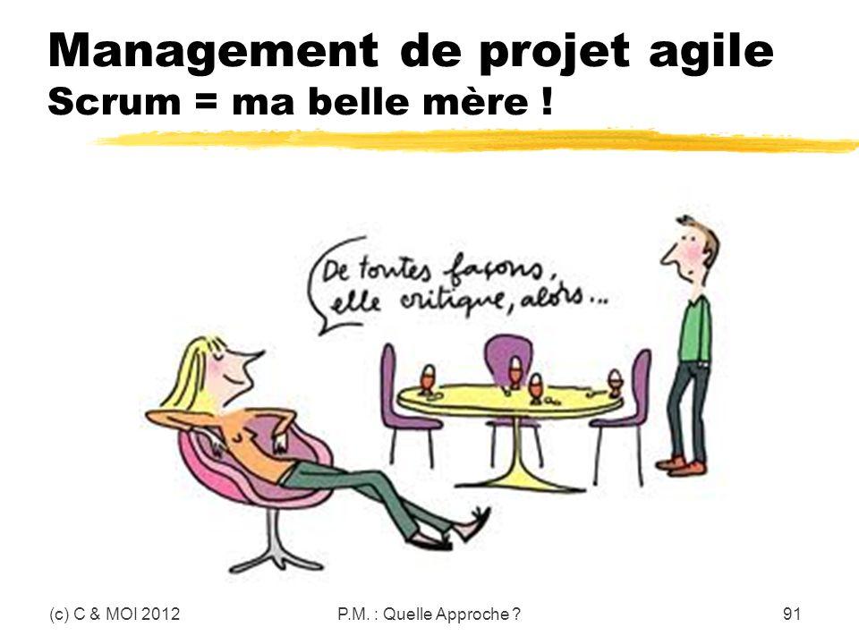 Management de projet agile Scrum = ma belle mère ! (c) C & MOI 2012P.M. : Quelle Approche ?91