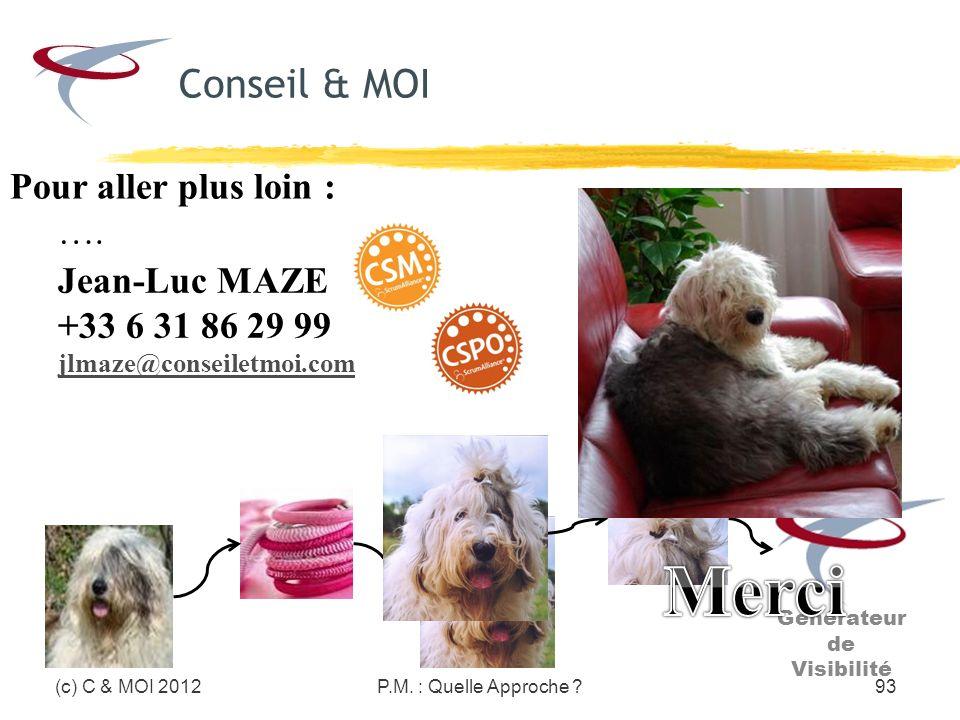 P.M. : Quelle Approche ?93(c) C & MOI 2012 Pour aller plus loin : …. Jean-Luc MAZE +33 6 31 86 29 99 jlmaze@conseiletmoi.com Générateur de Visibilité