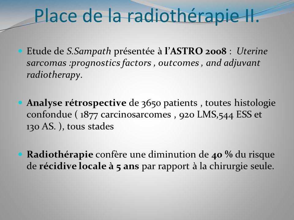 Place de la radiothérapie II. Etude de S.Sampath présentée à lASTRO 2008 : Uterine sarcomas :prognostics factors, outcomes, and adjuvant radiotherapy.