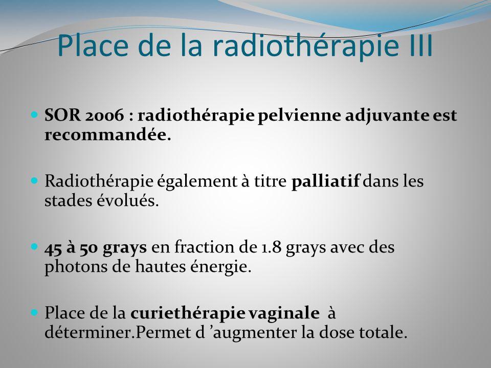 Place de la radiothérapie III SOR 2006 : radiothérapie pelvienne adjuvante est recommandée. Radiothérapie également à titre palliatif dans les stades